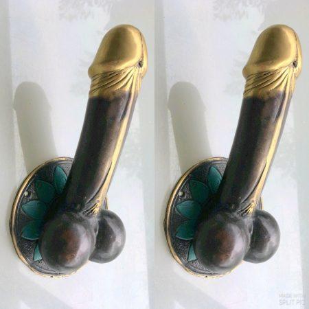 "2 large penis 23 cm DOOR PULL or HOOK hand made brass 9 "" handle phallus hook brass bronze patina (Copy)"