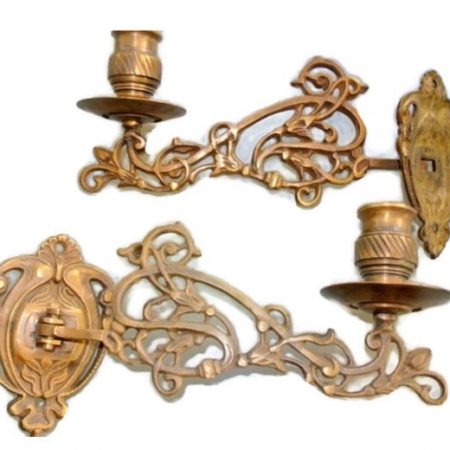 """PAIR PIANO SCONCE solid heavy brass 8 """" rotate candle holder aged heavy brass B"""