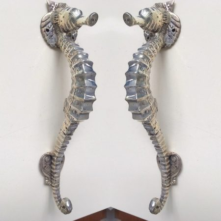 "2 small SEAHORSE solid brass door Silver plated over brass old style house PULL handle 10"" outdoor pair hollow"