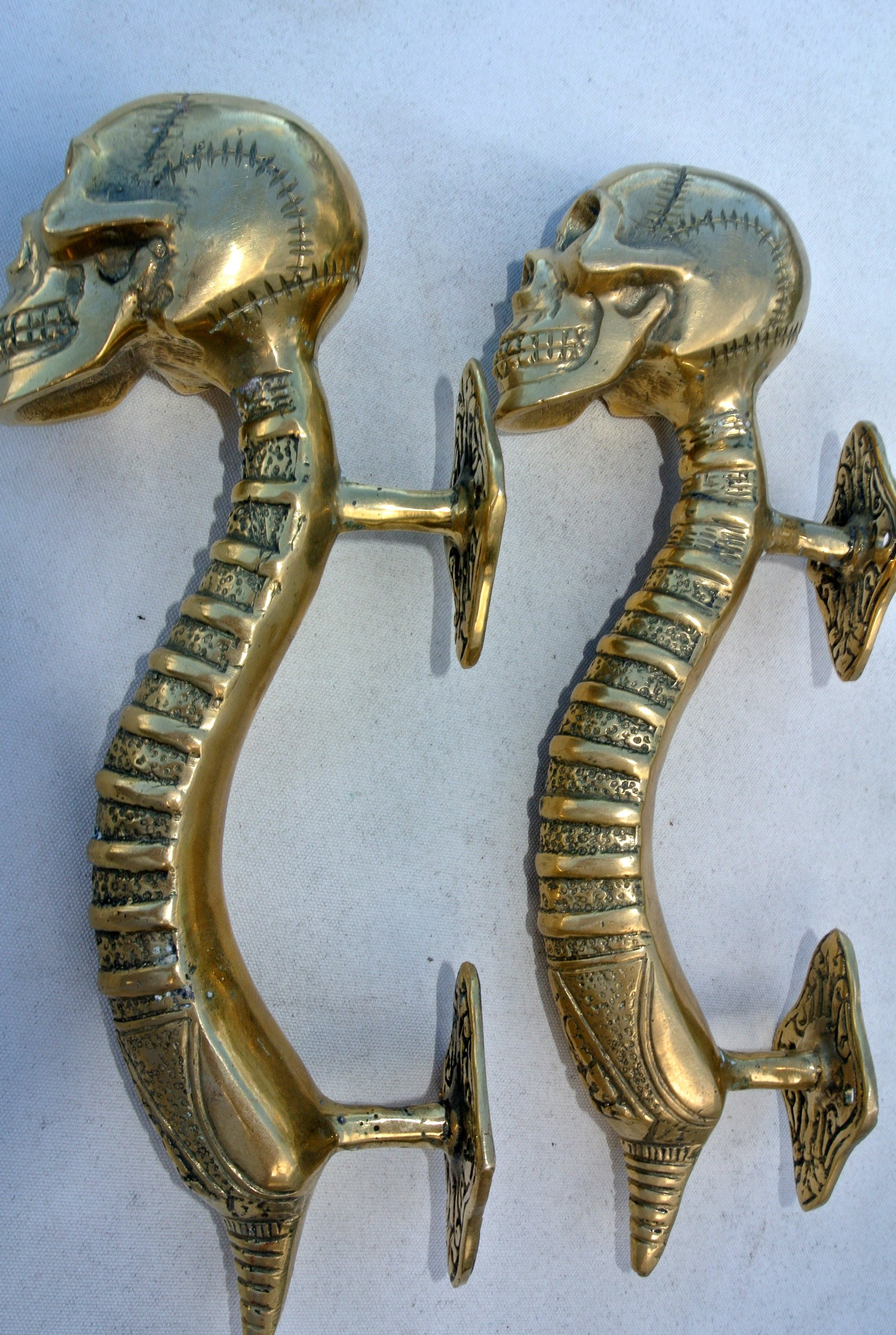 """2 small SKULL handle DOOR PULL spine BRASS old vintage style Polished 8 /"""" B"""