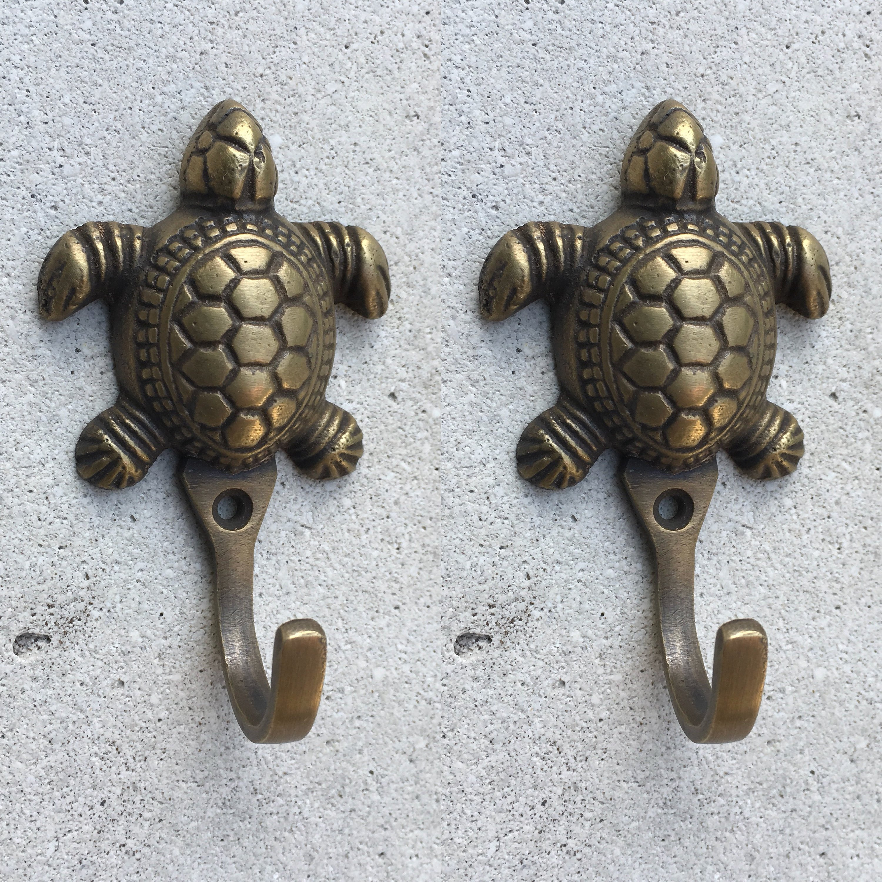 2 Small Turtle Coat Hooks Solid Age Brass Old Vintage Old Style Hook