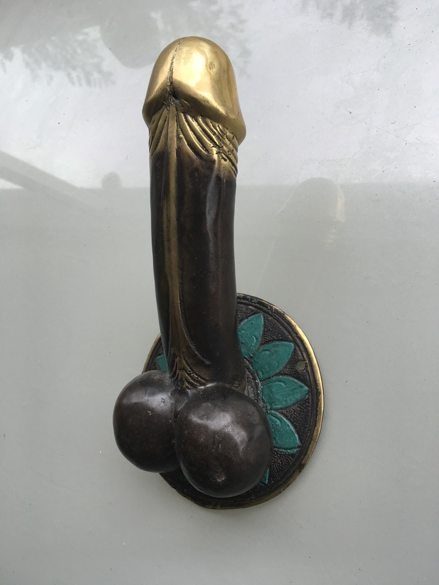 2 large penis 23 cm DOOR PULL or HOOK hand made100% brass