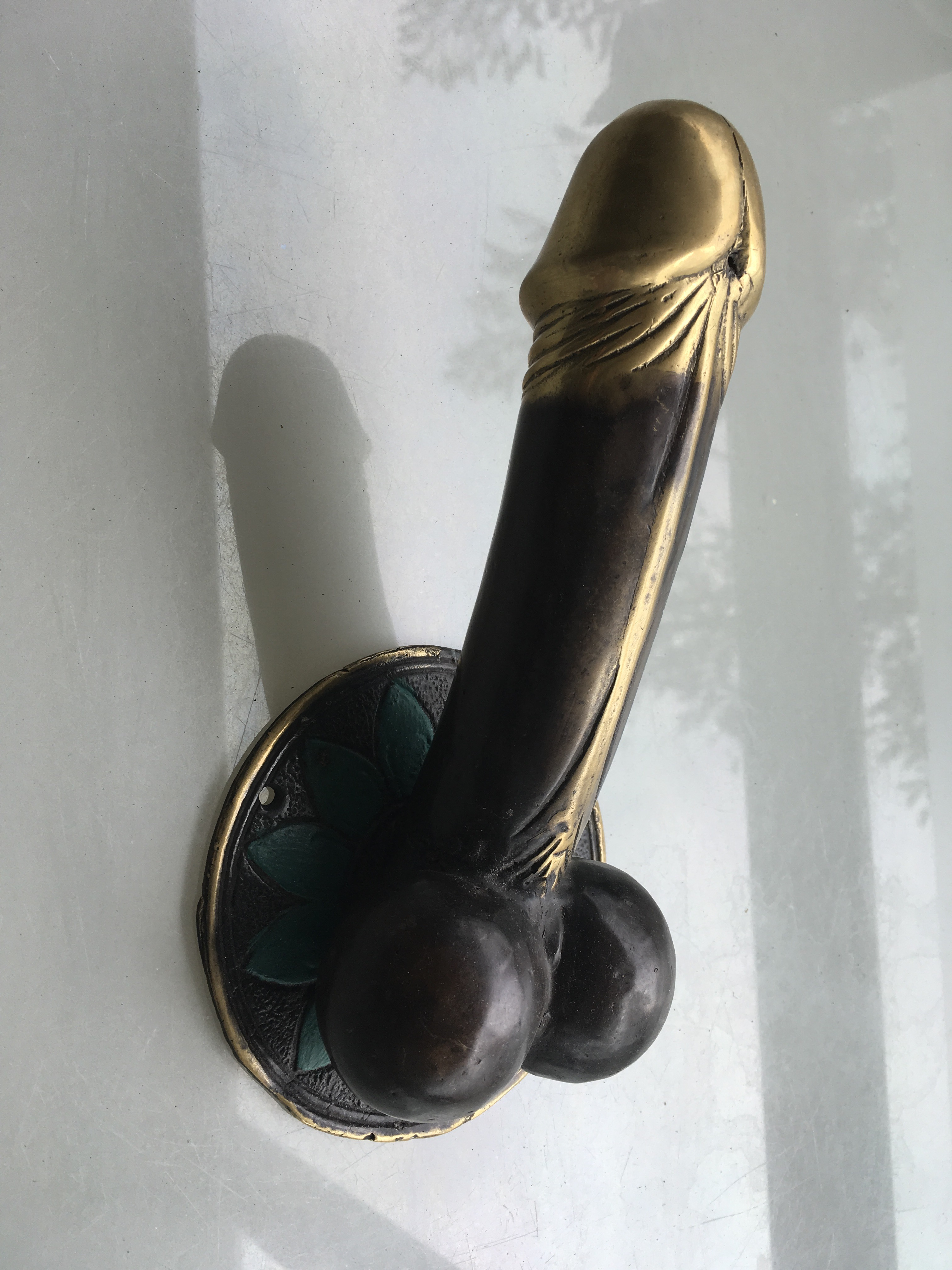 2 Large Penis 23 Cm Door Pull Or Hook Hand Made100 Brass