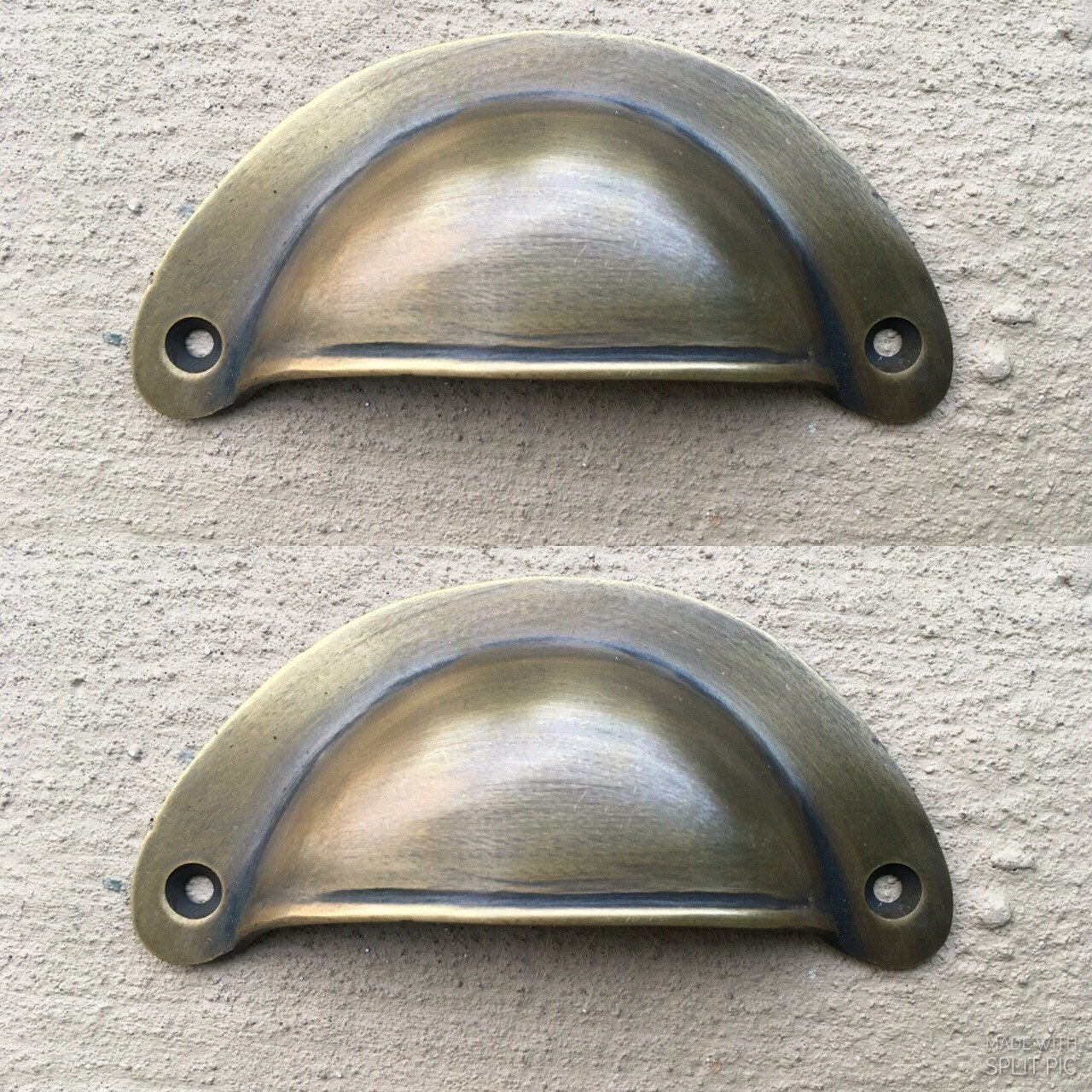 2 Shell Handles Pull Aged Solid Brass Pull Knob Kitchen