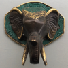 "2 ELEPHANT shape WALL HOOK 4"" BRASS old style look SCREW to wall trunk hang heavy green bronze patina"