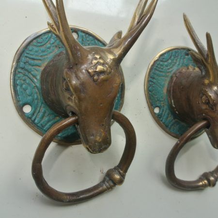2 ring handles Vintage style Deer antelope Coat Hook Key Holder Deer stag Decorative hooks solid pure hollow BRASS hand made bronze patina