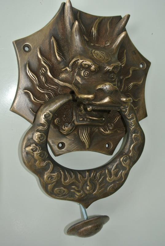 Large Solid Foo Dragon Heavy 14 Cm Wide Pure Brass Door