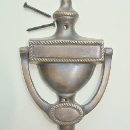 """period 19 cm Solid heavy pure Brass Door Knocker 7.1/2"""" pull Victorian Vintage style Door bronze patina Knocker Door Decor hinged banger"""