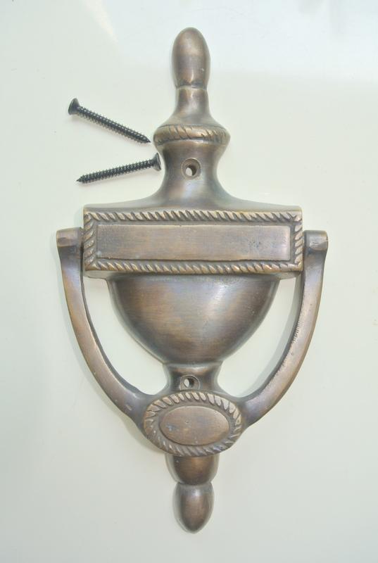 Period 19 Cm Solid Heavy Pure Brass Door Knocker 7.1/2u2033 Pull Victorian  Vintage Style Door Bronze Patina Knocker Door Decor Hinged Banger