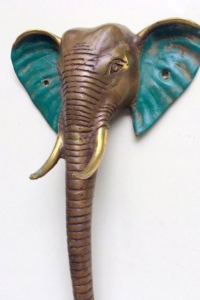 2  large handle Elephant DOOR PULL aged green 32 cm solid BRASS trunk hollow B