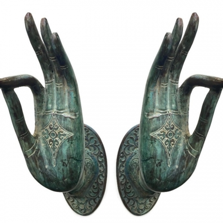 Pair BUDDHA DOOR handle solid brass old style hand fingers 25 cm antique seaside oxidised patina green brass hook amazing hollow wall fix