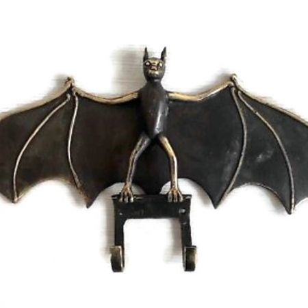 """Amazing BAT wing 2 HOOK rack solid brass vintage old style 13"""" long keys hat bronze hang hand made gothic wall B"""