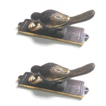 "2 small light BIRD pull Handle solid hollow BRASS 6"" plate KNOCKER pecking hinge Front Door Knock banger Decor"
