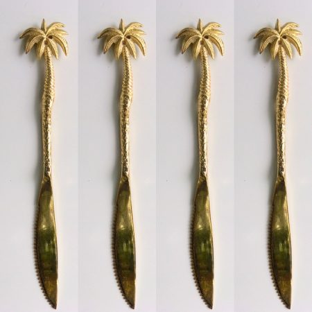"""4 solid brass KNIFES 24 cm all brass polished knives HANDLES 9"""" inches hand made cast cutlery sets PALM design"""