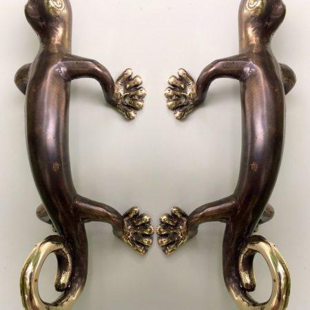 Solid Bronze Bull Door Handle or Towel Ring Vintage Green Patina