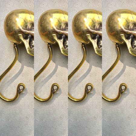 "4 large 18 cm Skull Coat Hanger Door Handles 7"" Bronze colour real solid Brass Scary Home Door Wall Decoration Collectable Art"