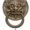 "Large Solid foo dragon heavy pure Brass Door Knocker 7"" Chinese dog Head ring pull in mouth Vintage Front Door Knocker Door Decor"