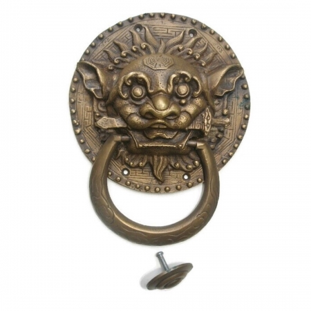 "Large Solid foo dragon heavy pure Brass Door Knocker 7"" Chinese dog Head ring pull in mouth Vintage Front Door Knocker Door Decor"