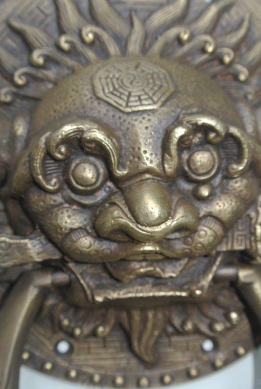 Large Solid Foo Dragon Heavy Pure Brass Door Knocker 7