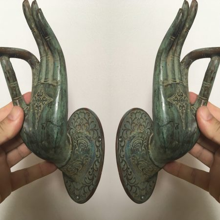 Pair BUDDHA DOOR 20 cm handle solid brass antique seaside beach patina oxided green old style hand fingers pull hooks fingers dewi hook