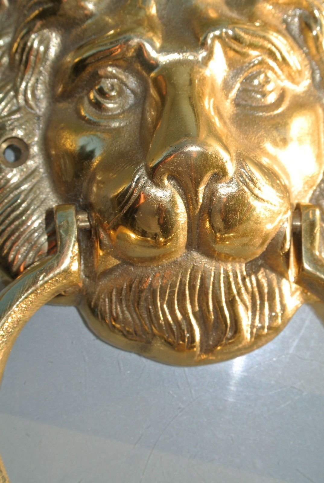 2 Polished Lion Head Heavy Front Door Knocker Real Solid