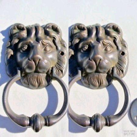 "2 LION solid BRASS hand made DOOR KNOCKER 6.1/2"" heavy bronze patina very heavy 16.5 cm cast"