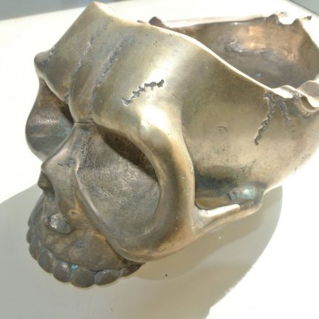 "SKULL head ash tray solid pure BRASS SILVER PLATED vintage style collect 6"" new day of the dead old patina hand made cast hollow day of the dead"