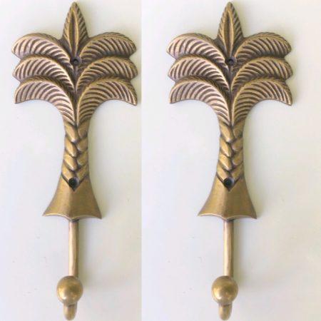 "4 aged bronze patina 5"" palm tree COAT HOOKS 12.5 cm medium solid brass antiques vintage old style 125 mm hook"
