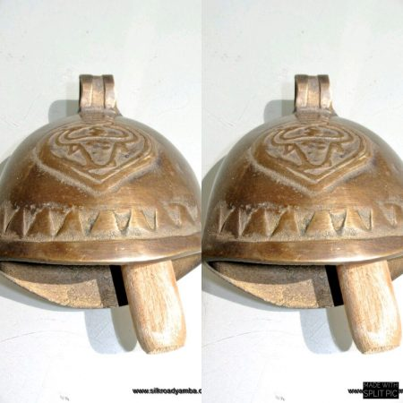 "2 medium COW or GOAT BELL 3.1/2 "" Nice sound solid brass ring old style 9 cm polished hand made bronze patina"