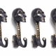 """2 dark medium 5 """" inches antique aged bronze style SKULL HOOKS solid pure BRASS hollow old style 13.5 cm long spine hand made hanger B"""