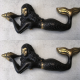 "2 small MERMAID heavy solid heavy Brass aged statue 7"" shell bronze patina heavy statue"