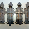 "4 small BOLTS french old Antique style door furniture heavy solid brass flush 4.1/2"" bronze patina"