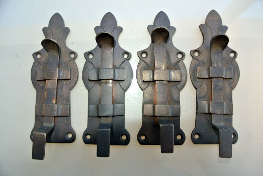 """4 small BOLTS french old Antique style door furniture heavy solid brass flush 4.1/2"""" bronze patina"""