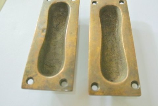 "4 recessed finger pull 7.6 cm Vintage Solid heavy Brass Baldwin FLUSH Pull 3"" Antique Sliding Cabinet Brass Knob Drawer Pulls vintage old"