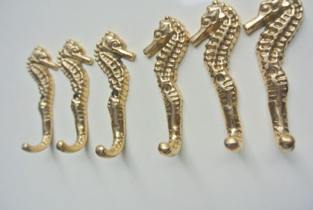 """6 small SEAHORSE solid brass HOOKS COAT wall mounted beach old style hook 8.5 cm 3"""" polished brass"""