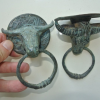 2 small bull buffalo head steer door handle solid brass old style horns ring 7 cm hook ring pull green oxidised seaside aged patina