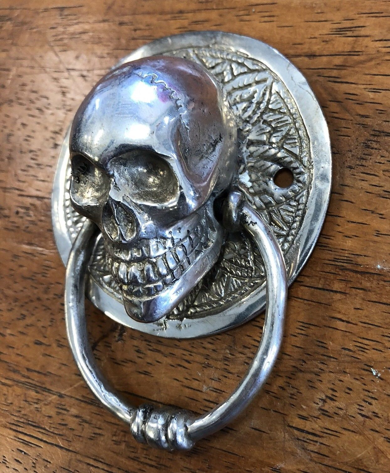 2 Small Round Skull Head Silver Plated Over Brass Ring