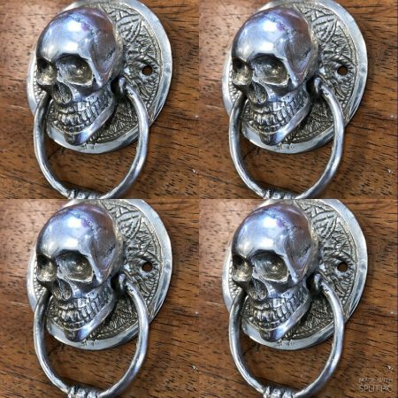 2 small round SKULL head SILVER plated over brass ring pull Handle BRASS 7.5 cm day of the dead hand cast hand made ring pull