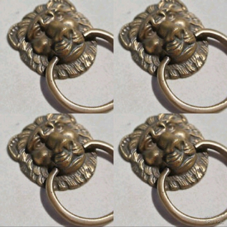 "4 pieces 5 cm PULLS drawer handles Small LION SOLID BRASS antiques ring 2"" bronze patina"