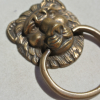 """4 pieces 5 cm PULLS drawer handles Small LION SOLID BRASS antiques ring 2"""" bronze patina"""