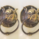 """4 small round pig boar head ring pull Handle light weight aged BRASS 7.5 cm horns cabinet 3"""" cabinet drawer grab bronze patina"""