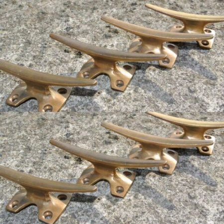 """8 small CLEAT tie down heavy brass boat cars tieing rope hooks 4"""" cleats ship chandlers bronze patina"""
