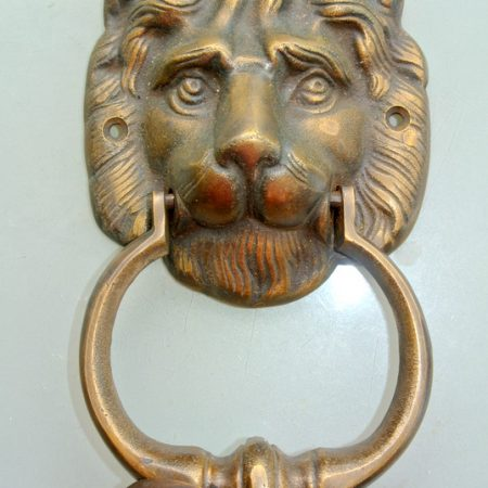 "use in shop display LION solid BRASS hand made 16. 5 cm DOOR KNOCKER 6.1/2"" heavy bronze patina very heavy 16.5 cm cast (Copy)"