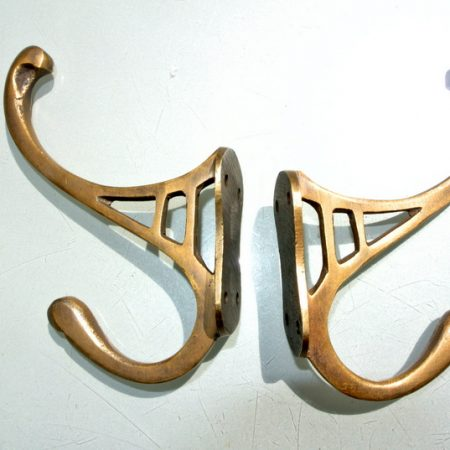 "2 period COAT HOOKS solid brass old style 4"" Deco hall stand vintage style heavy bronze oxidized patina 12 cm"