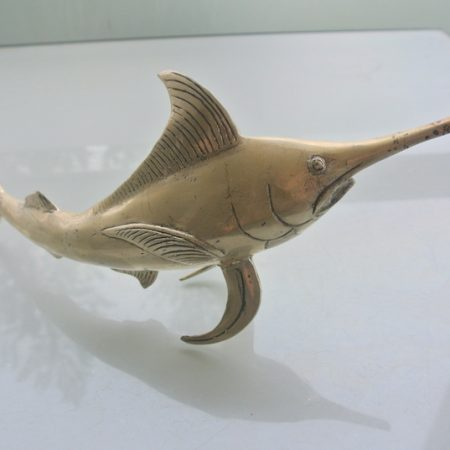 "old look sword fish marlin FISH aged BRASS bill hollow statue sea side silver plated 12"" old look display hand made 30 cm Statue Sculpture Decor trophy (Copy)"