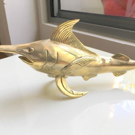 "sword fish marlin FISH aged BRASS bill hollow statue POLISHED BRASS 12"" old look display hand made 30 cm Statue Sculpture Decor trophy bronze patina"