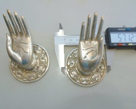 2 used small Buddha Pulls hooks knob handle Fingers silver brass door old style open HAND knobs back plate 2.1/4""