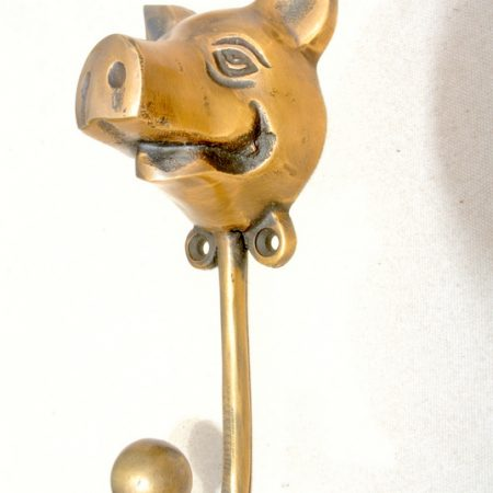 large PIG COAT HOOK solid age brass old vintage old style 13 cm hook aged bronze look beach house wall hang Bronze patina