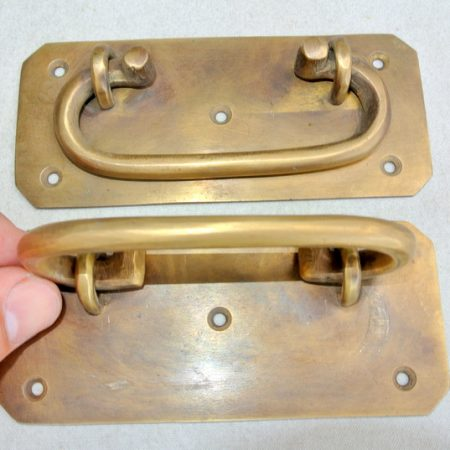 "2 large BOX HANDLES 13 cm 57 mm wide chest brass trunk old age style 5"" solid BRASS natural bronze patina blanket gate door barn pulls lift lock"