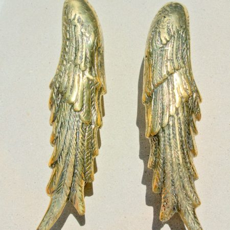 "2 small ANGEL WING hollow solid brass door PULL old style polished house PULL handle 20 cm wings 8"" long"